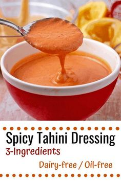Fiery sriracha-tahini dressing with 3-ingredients is the creamy, oil-free, and dairy-free, quick condiment that raises the flavor profile for salads and beyond. #anothermusicinadifferentkitchen #sriracha #tahini Vegan Desserts, Vegan Recipes, Tahini Dressing, Vegan Meal Prep, Vegan Dinners, 3 Ingredients, Quick Easy Meals, Dairy Free, Vegetarian Dinners