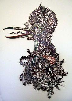 Kako Ukeda, Birds Speaks, Hand Cut Paper with Acrylic Paint
