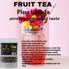 #tea #trustea #loosetea #health #vegan #premium #fitness #beachbody Pineapple Fruit, Fruit Tea, Pineapple Coconut, Famous Cocktails, Premium Tea, Fitness Sport, Orange Peel, Cocktail Drinks, Hibiscus