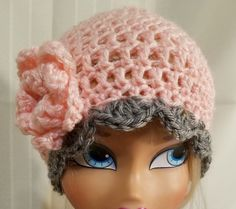 1b5a7ad6628a0 Extra Off Coupon So Cheap Handmade Crochet Baby Girl Hat months Pink with  flower   gray edge.