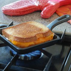 Cast Iron Sandwich Pan Just the right size for a quick snack or dinner for one!