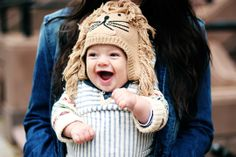 The knit cap and the look:  - adorable and what a stellar baby smile. #smilesonkids