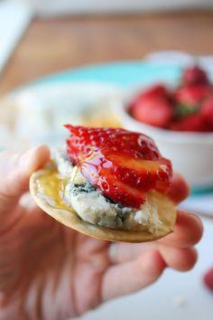 Honey-Drizzled Bleu Cheese Strawberry Bites - The Food Charlatan