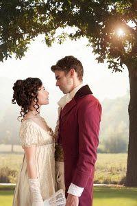 Lee Avison romantic regency couple beneath tree in garden