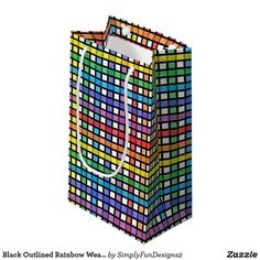 Black Outlined Rainbow Weave Small Gift Bag
