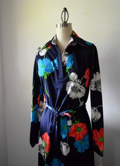 Vintage Dress 1970s Long Floral Dress Thin by EadoVintage on Etsy