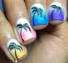 Gradient silhouette palm tree nails