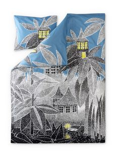 New House of Toffle duvet cover set by Finlayson presents Toffle's house in a stylish grey-blue colours. Delightful details make this bed linen set a truly beautiful addition to your bedroom. The Finlayson fabric is cotton.Size: Duvet cover 150 x 210 cm Moomin House, Moomin Shop, Moomin Mugs, Wallpaper S, Pattern Wallpaper, Tove Jansson, Bed Linen Sets, Scandinavian Home, Marimekko