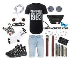 """URBANCREWS Mens Hipster Longline T-shirt Outfit"" by urbancleo ❤ liked on Polyvore featuring Topman, Stussy, NIKE, Forever 21, men's fashion and menswear"