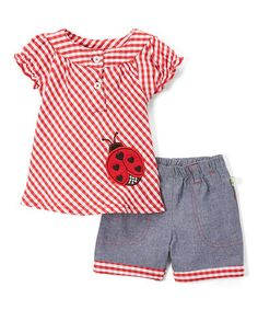 Love this Red Gingham Ladybug Top & Blue Shorts - Infant on #zulily! #zulilyfinds