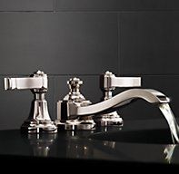 RH's Campaign Lever-Handle Widespread Faucet:Evocative swirled knobs modeled after vintage English library racks inspired our Campaign collection. Plumbing Fixtures, Bathroom Fixtures, Steam Showers Bathroom, Bathrooms, Pool Bathroom, Home Furnishing Stores, Bathroom Hardware, Room Accessories, Sink Faucets