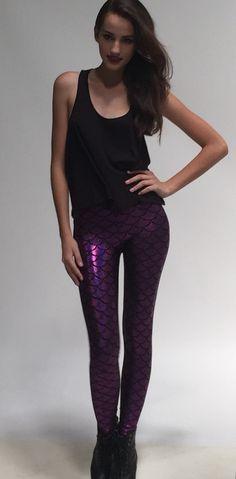 Mermaid Leggings, Purple, Clothing, Fabric, Pants, Etsy, Color, Fashion, Outfits