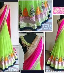 Buy light green embrodery net unstitched lehenga-choli Online