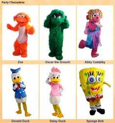 Costume Character party rentals #BaltimoreMaryland #SpongeBob #Disney #SesameStreet