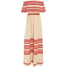 Celia Dragouni Off-the-shoulder embroidered cotton maxi dress ($495) ❤ liked on Polyvore featuring dresses, red, maxi slip, red off the shoulder dress, off shoulder maxi dress, cotton slip and pleated maxi dress