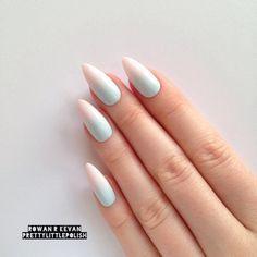 Pastel Summer Ombre Gradient Stiletto nails by prettylittlepolish