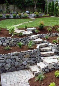 Sloped Backyard Landscaping, Landscaping Retaining Walls, Landscaping With Rocks, Modern Landscaping, Landscaping Ideas, Backyard Ideas, Walkway Ideas, Patio Ideas, Sloping Backyard