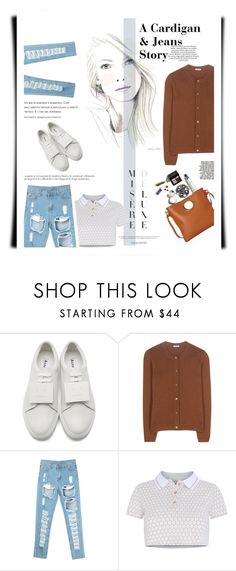 """A Cardigan & Jeans Story"" by emcf3548 ❤ liked on Polyvore featuring Acne Studios, Miu Miu, Adriana Iglesias, T-shirt & Jeans and Vanity Fair"