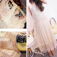the dazzlin New retro crochet lace stitching two sets of gauze vest the dress skirt emoda-Taobao