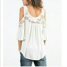 Boutique Tops - Lace Detail Open Shoulder Top