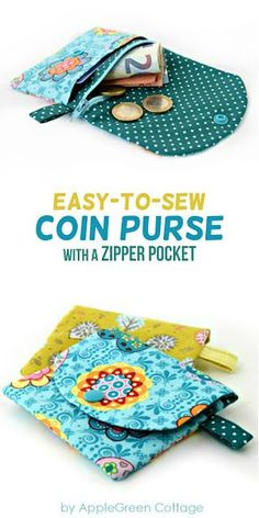 Coin purse sewing pattern with zipper. A cute little coin purse PDF pattern complete with beginner friendly instructions. Get your pattern here!
