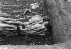 Landsberg, Germany, 01/05/1945, Corpses of prisoners in a mass grave.