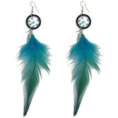 Feather Bohemian Drop Earrings (6.15 BAM) ❤ liked on Polyvore featuring jewelry, earrings, boho jewelry, boho chic jewelry, drop earrings, boho jewellery and boho style jewelry