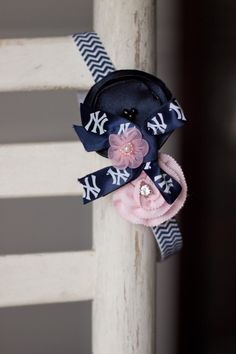 NY Yankees Chevron Baby Headband Newborn Headband by bluestonesky