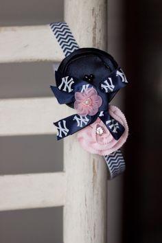 NY Yankees Chevron Baby Headband Newborn Headband by bluestonesky