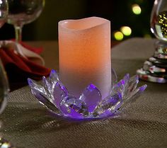 Glass Lotus Flower with Flameless Candle by Valerie