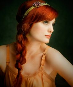 I wish I were brave enough to dye my hair this color. beautiful braid & headband