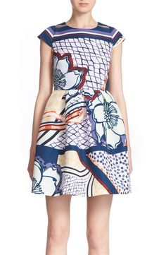 Ted Baker London 'Wrennie' Print Cap Sleeve Dress