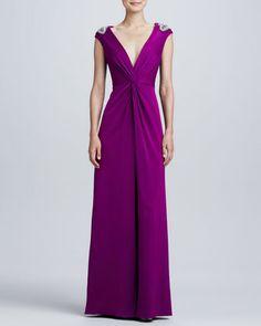 Aidan Mattox Beaded-Shoulder V-Neck Twist Gown - Neiman Marcus