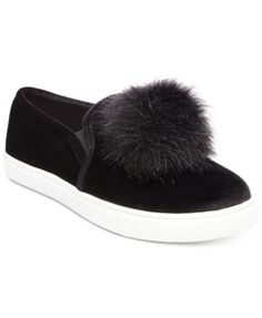 An oversized, faux-fur pom-pom adorns the toe cap of Betsey Johnson's Zappp sneakers in a distinctly playful accent to casual style. | Fabric upper; polyester faux-fur pom-pom; manmade sole | Imported