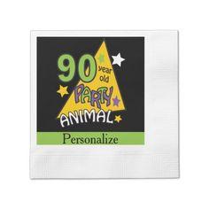 90 Year Old Party Animal | 90th Birthday Napkin