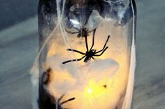 Galaxy Jar DIY, easy way to create a galaxy in a jar and all its wonder in your hands, use tutorial to make Nebula necklaces and other sensory calming jars Diy Halloween Luminaries, Halloween Mason Jars, Christmas Mason Jars, Halloween Centerpieces, Diy Christmas, Halloween Decorations, Painted Mason Jars, Mason Jar Diy, Mason Jar Crafts