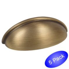 "Free Shipping. Buy Cosmas 783BAB Brushed Antique Brass Cabinet Hardware Bin Cup Drawer Cup Pull - 3"" Hole Centers - 5 Pack at Walmart.com"