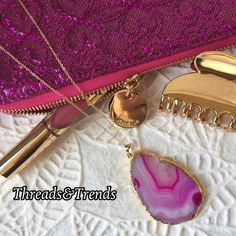 Stone Pendant Necklace Gorgeous pink stone pendant necklace trimmed in faux gold on a long gold chain. Threads & Trends Jewelry Necklaces