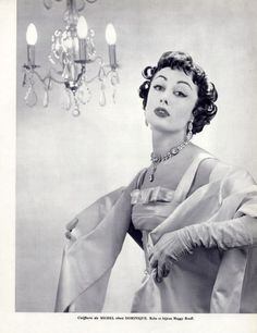 Dominique (Hairstyle) 1955 Bonzano (Cristaux) Maggy Rouff, Photo Geiger. Love the gown too!
