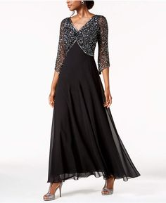 J Kara Embellished Gown Women - Dresses - Macy's Mother Of Groom Dresses, Mother Of The Groom Outfits 2018, Mob Dresses, Bride Dresses, Brides Mom Dress, A Line Gown, Gowns With Sleeves, Gowns Online, Chiffon Skirt