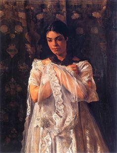 Portret Heleny Marcello   Po 1880. Olej na płótnie. 124,5 x 93,5 cm.   Muzeum Narodowe we Wrocławiu.