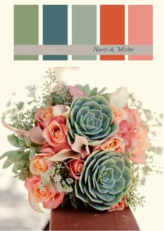 Dusty summer wedding palette - succulents, peach roses. (Green sage turquoise ivory taupe peach melon)