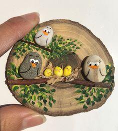 'vogelkaka' painted rocks birds on driftwood jl – Artofit