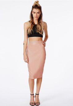 Missguided - Mariota Faux Leather Midi Skirt Khaki | My Style ...