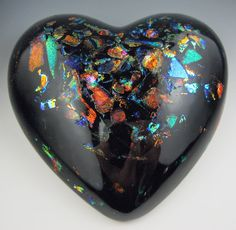 BLACK Opal HEART PAPERWEIGHT Part 2. $80.00, via Etsy.