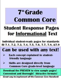 CCSS>ELA-Literacy.W.5.8 Response pages for Informational text this is great to use with our short stories and novels