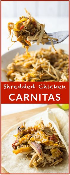 Slow cooker shredded chicken carnitas - This chicken carnitas recipe has delicious slow cooker shredded chicken, bell pepper, and a dash of heat with a jalapeno.