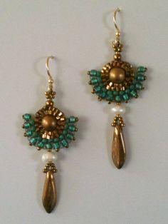 Bronze Gold & Teal fan earrings by Jeka Lambert. Seed bead woven. Glass beads, freshwater pearls, seed beads.