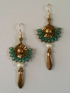 Earrings  Gold & Turquoise Teal Seed Bead Woven by JekaLambert, $40.00