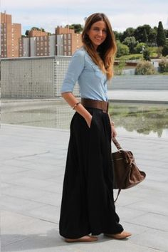 278377b83 Pale blue chambray blouse and black maxi skirt with wide belt. claudia ·  faldas con botas